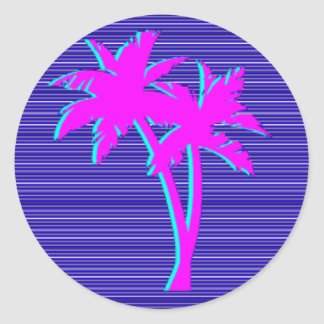Neon Palm Tree Classic Round Sticker