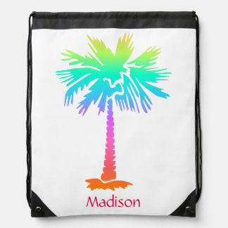 neon palm tree tropical summer bright colorful fun drawstring bag