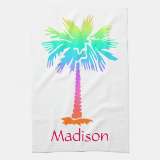 neon palm tree tropical summer bright customizable tea towel