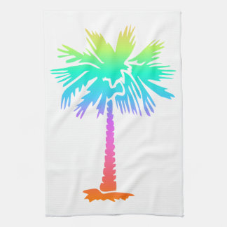 neon palm tree tropical summer colorful tea towel