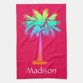 neon palm tree tropical summer pink customizable tea towel