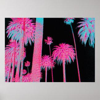 Neon Palm Trees Miami Beach Art deco art print
