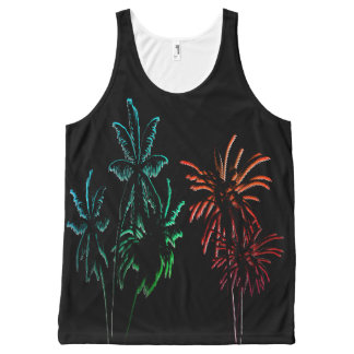 Neon Palm Trees Summer Sunset Night Black All-Over Print Singlet