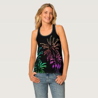 Neon Palm Trees Summer Sunset Night Black Singlet