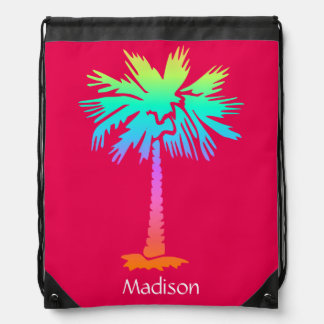 neon palm tropical summer bright colorful pink drawstring bag
