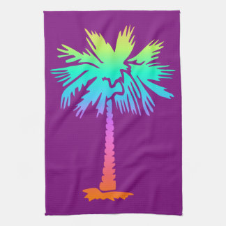 neon palm tropical summer bright colorful purple tea towel
