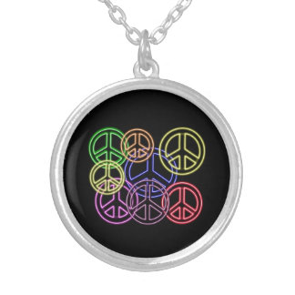Neon Peace Signs Necklace