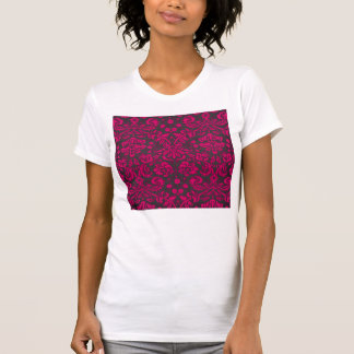 Neon Pink and Black Damask T-shirt