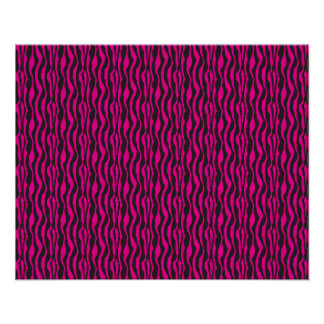Neon Pink and Black Zebra Pattern Poster