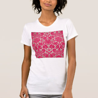 Neon Pink and Gold Damask Tee Shirt