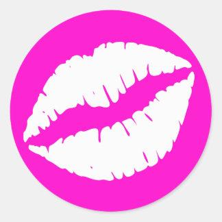 Neon Pink and White Lipstick Print Classic Round Sticker
