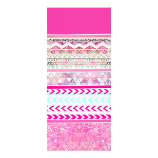 Neon pink Aztec patchwork floral paisley Customised Rack Card