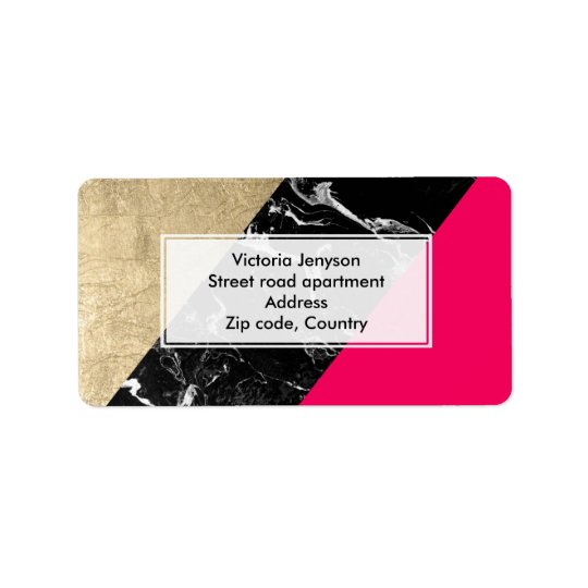 Neon pink black marble gold foil colour block label