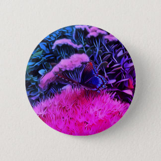 Neon Pink Blue Flowers With Monarch Butterfly 6 Cm Round Badge