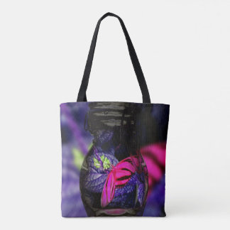 Neon Pink Butterfly With Purple in Jar Tote Bag