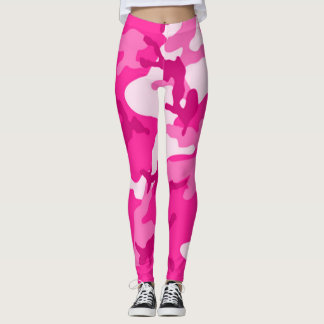 Neon Pink Camo Girl Leggings