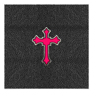 Neon Pink Cross Black Vintage Leather Image Print Photo Print