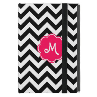 Neon Pink Custom Monogram with Zigzag Pattern iPad Mini Cover