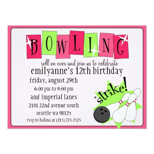 Neon Pink & Green Totally Retro Bowling Birthday P 17 Cm X 22 Cm Invitation Card