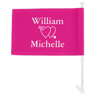 Neon pink heart and arrow wedding car window flag