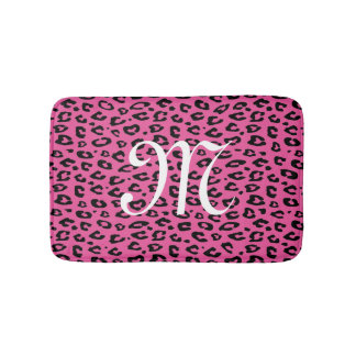 Neon pink leopard animal print monogram bath mat