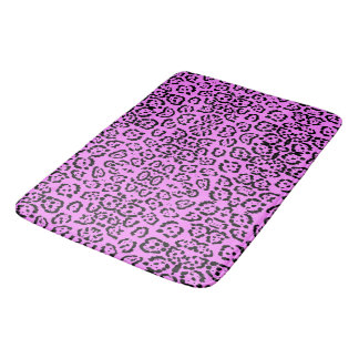 Neon Pink Leopard Print Animal Pattern Bath Mat