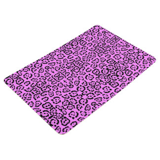 Neon Pink Leopard Print Animal Pattern Floor Mat