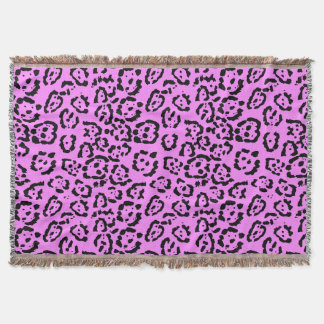Neon Pink Leopard Print Animal Pattern Throw Blanket