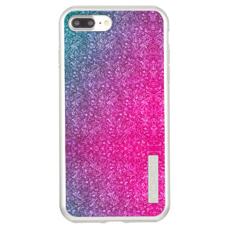 Neon Pink Muted Blue Floral Bright Colorful Incipio DualPro Shine iPhone 8 Plus/7 Plus Case