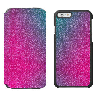 Neon Pink Muted Blue Floral Bright Colourful Incipio Watson™ iPhone 6 Wallet Case