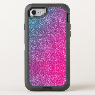 Neon Pink Muted Blue Floral Bright Colourful OtterBox Defender iPhone 8/7 Case