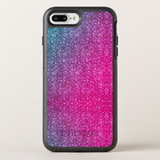 Neon Pink Muted Blue Floral Bright Colourful OtterBox Symmetry iPhone 8 Plus/7 Plus Case