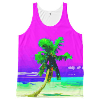 Neon Pink Palm Tree Paradise All-Over Print Singlet