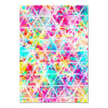 Neon Pink Rainbow Watercolor Triangles Pattern 9 Cm X 13 Cm Invitation Card