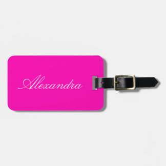Neon Pink Solid Color Customize It Luggage Tag