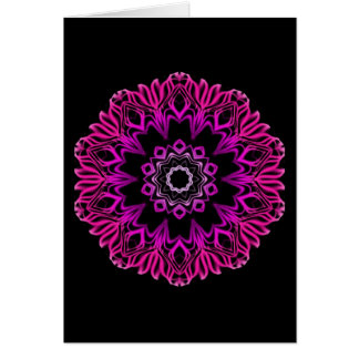 Neon Pink Space Flower Greeting Card