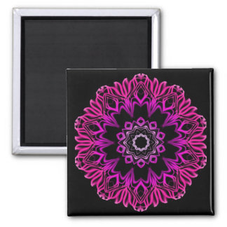 Neon Pink Space Flower Magnet