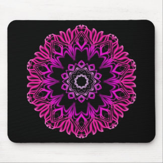 Neon Pink Space Flower Mouse Pad