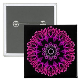 Neon Pink Space Flower Pinback Buttons