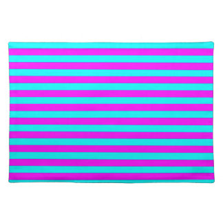 Neon Pink Teal Modern Stripes Pattern Cloth Place Mat