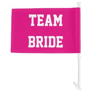 Neon pink team bride girls weekend car window flag