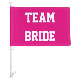 Neon pink team bride wedding car window flag car flag