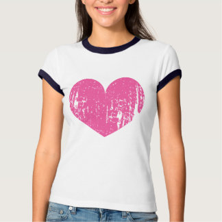 Neon pink vintage heart t shirt for women