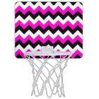 Neon Pink White and Black Zigzag Mini Basketball Hoop