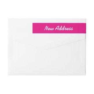 Neon pink wraparound return address labels