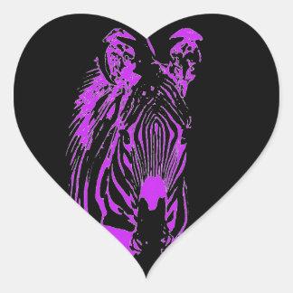 Neon Pink Zebra Heart Sticker