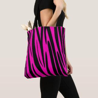 Neon Pink Zebra Skin Pattern Tote Bag