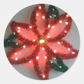 Neon Poinsettia Christmas Classic Round Sticker