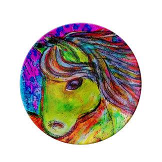 neon pony porcelain plates