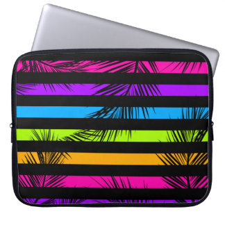 Neon Psychedelic Stripes Palm Trees Pattern Laptop Sleeve